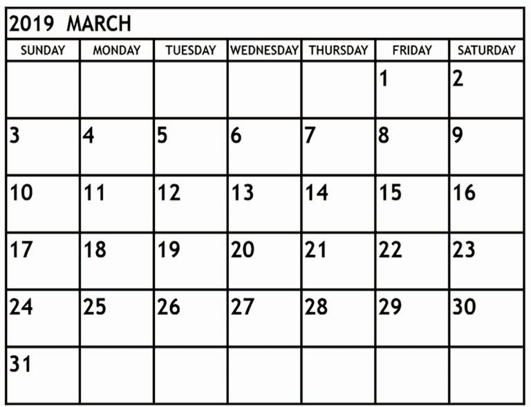 Free Editable March 2019 Calendar Blank Template Word
