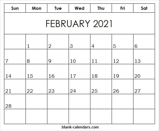 Free Editable Weekly 2021 Calendar February 2021 Blank