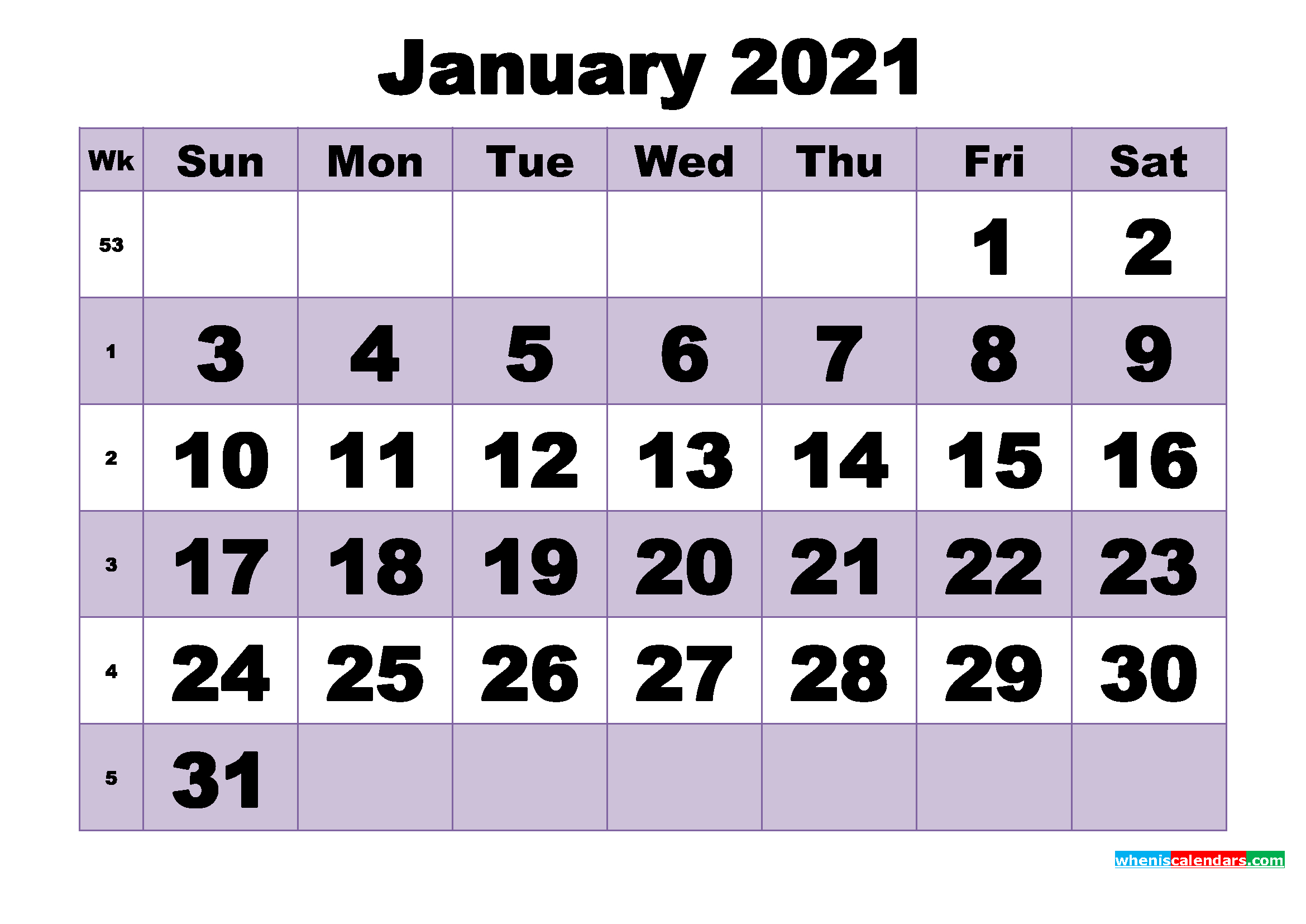 free january 2021 printable monthly calendar template