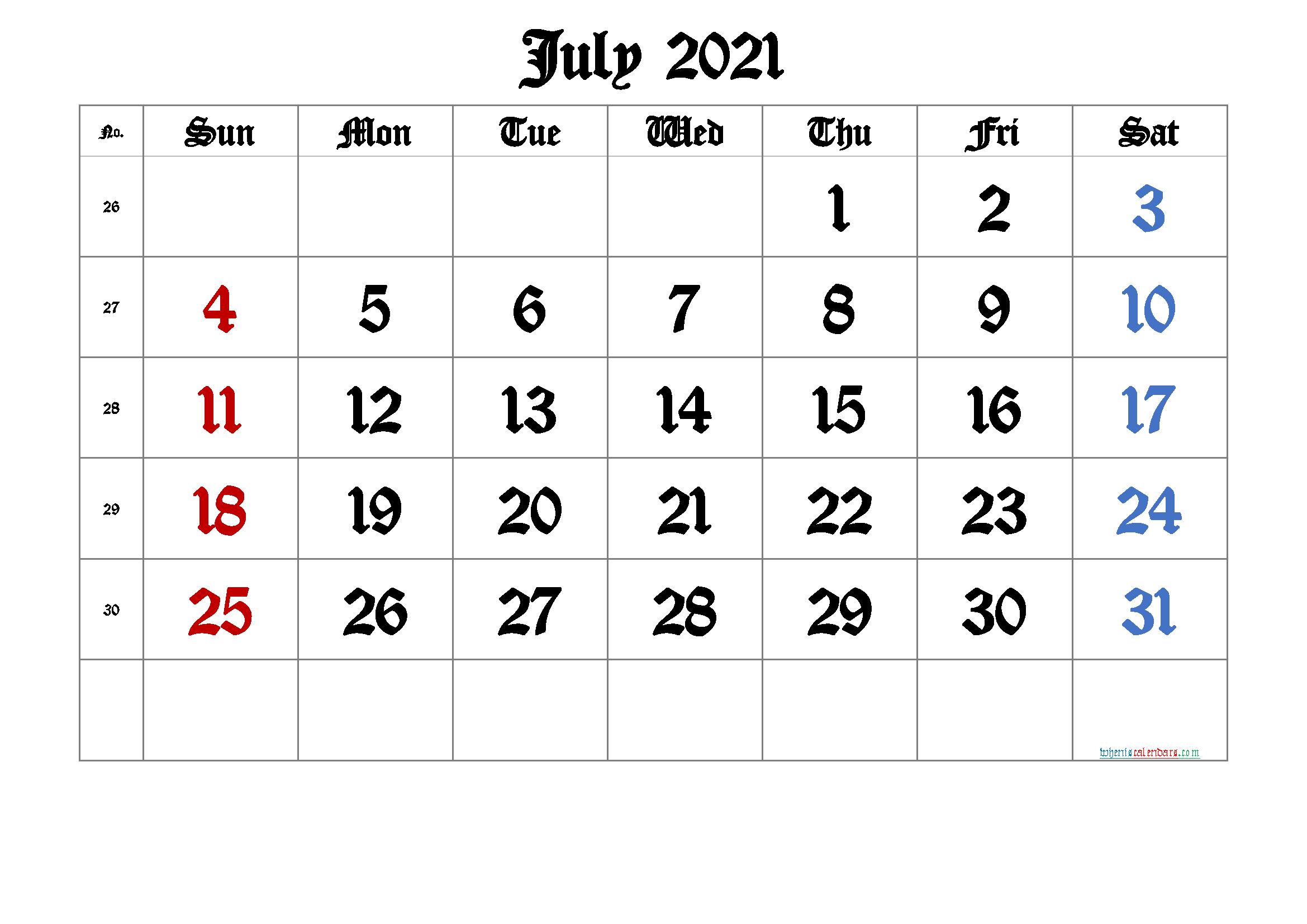 Free Printable 2021 July Calendar