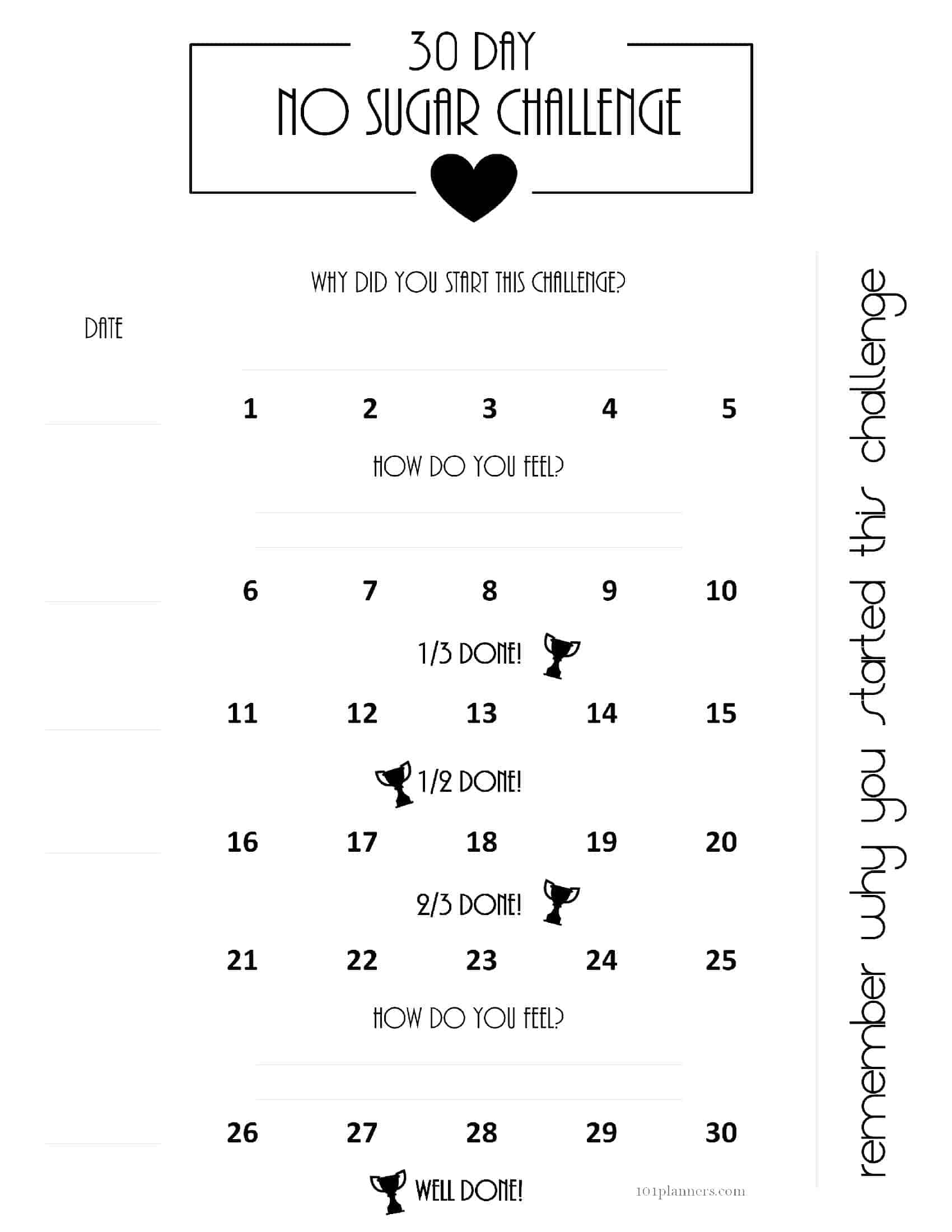 Free Printable 30 Day Shred Calendar