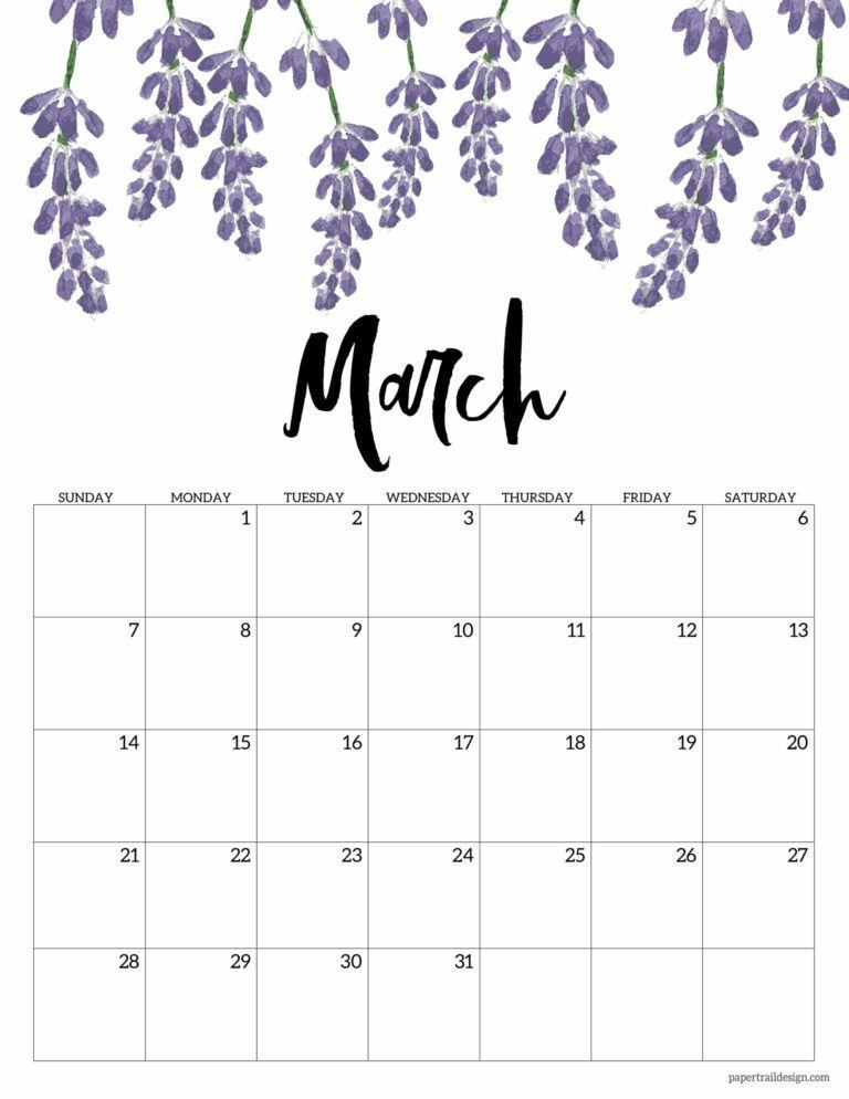 Free Printable Calendar 2021 Floral Paper Trail Design 2