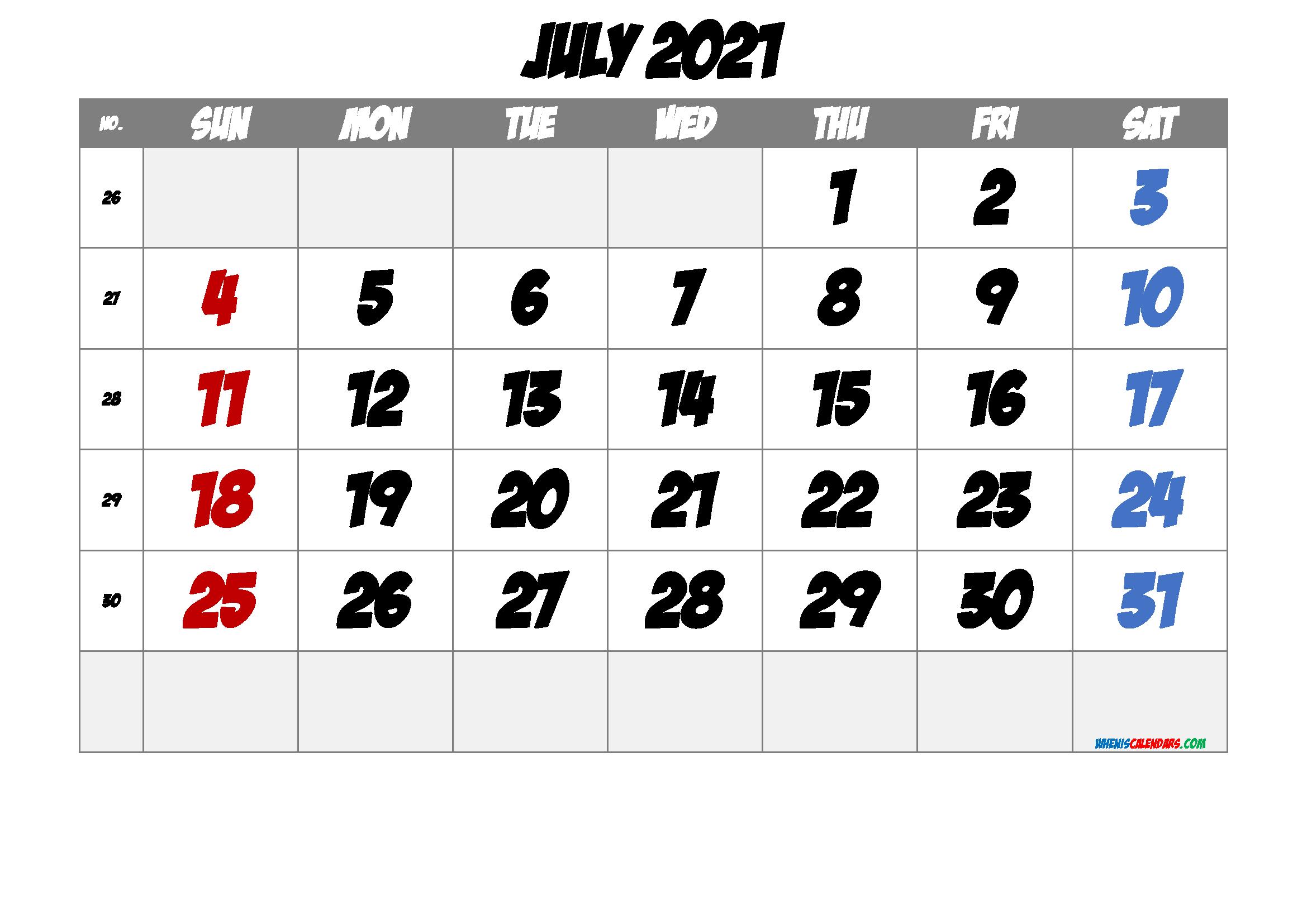 Free Printable Calendar 2021 July Free Premium Free