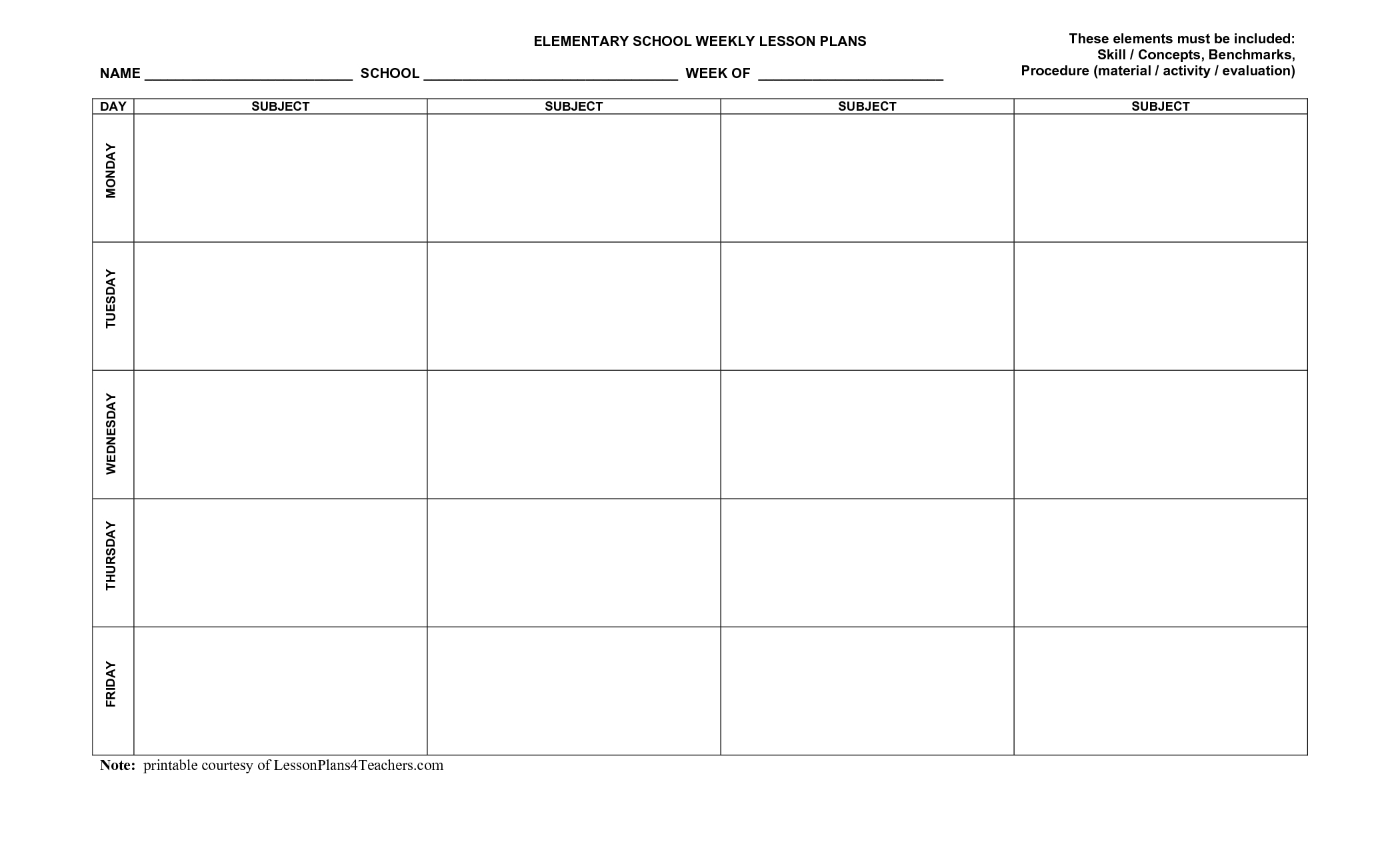 Free Printable Calendar Lesson Plans Ten Free Printable
