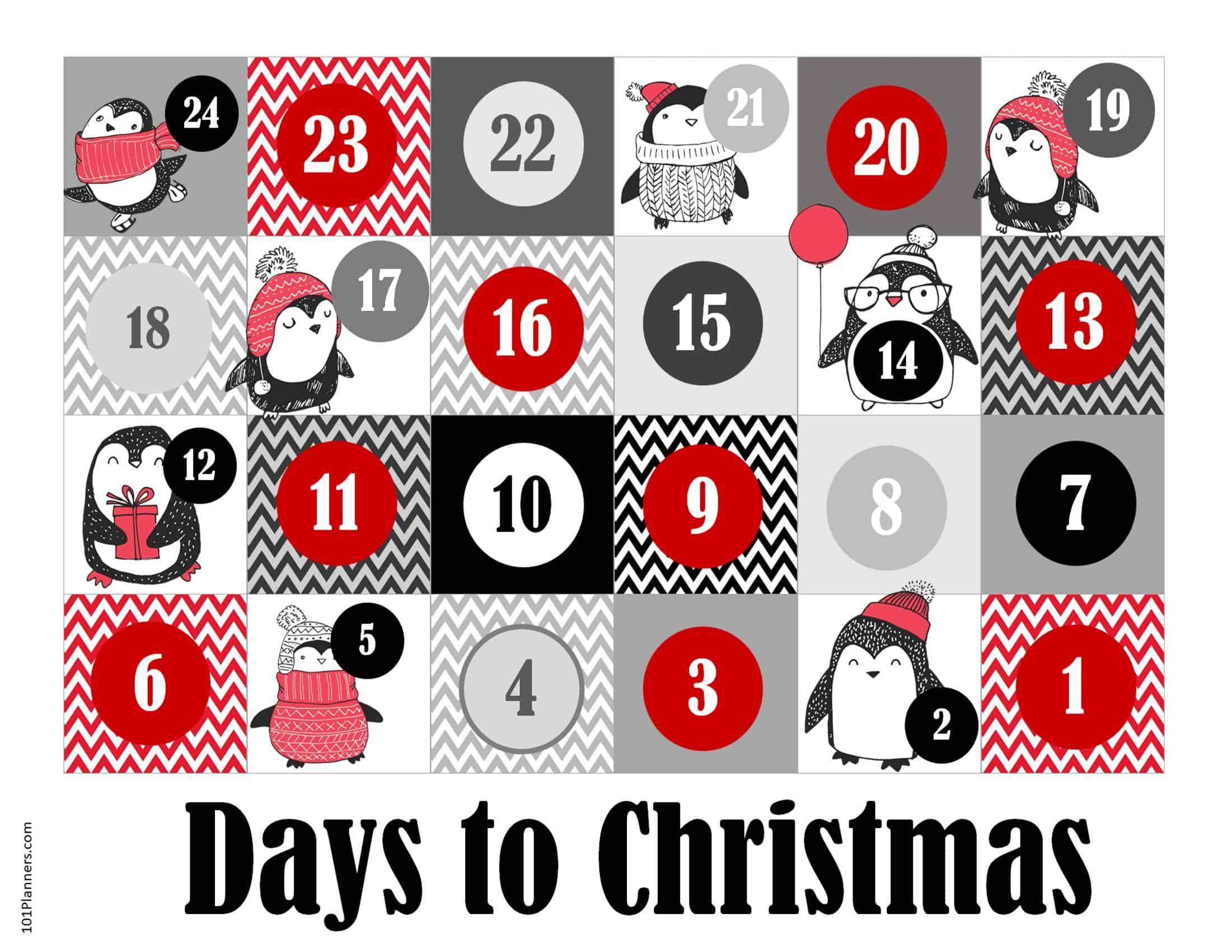 Free Printable Christmas Countdown And Advent Calendar 1