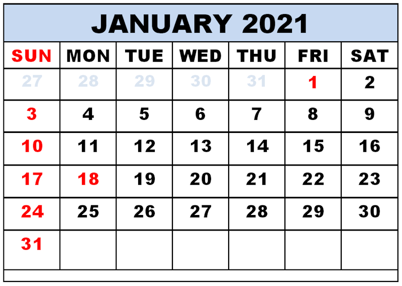 Free Printable January 2021 Calendar With Holidays Free