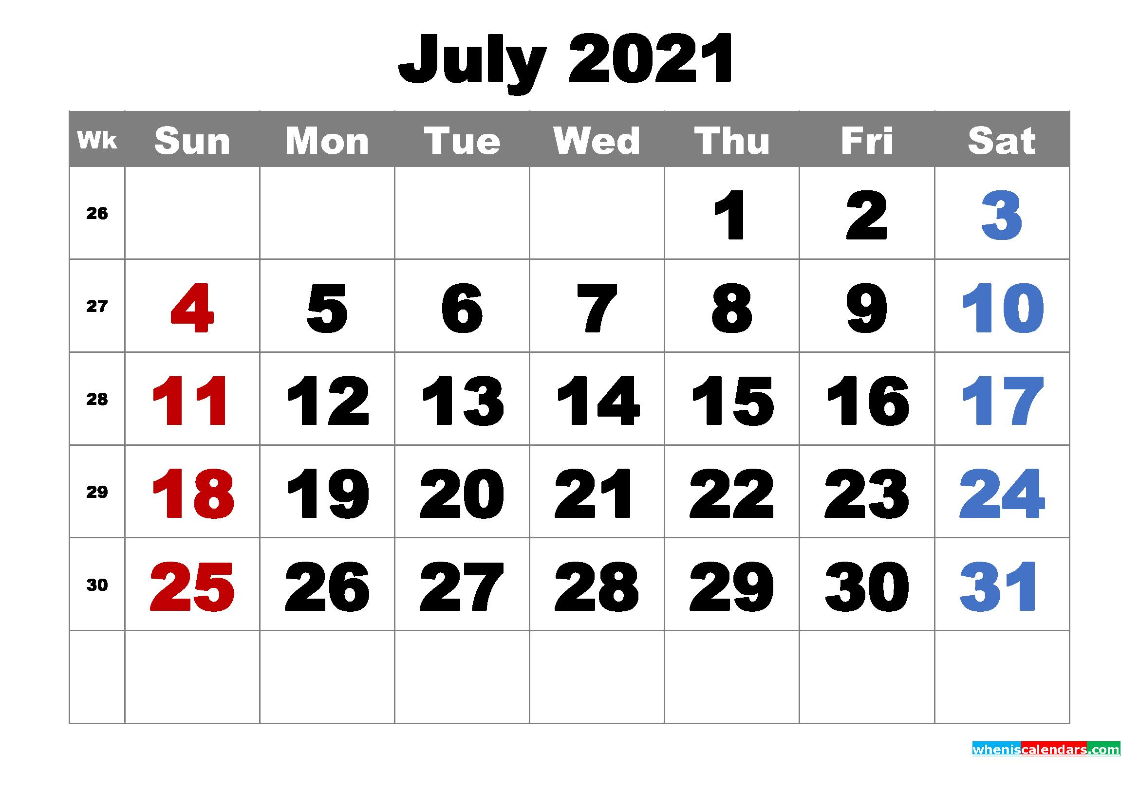 Free Printable July 2021 Calendar Word Pdf Image Free