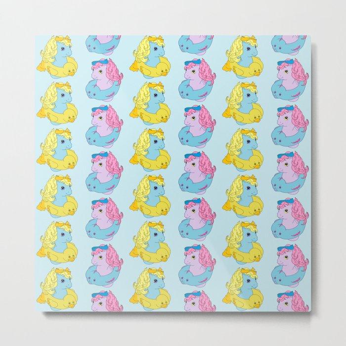 G1 My Little Pony Baby Sea Ponies Pattern Metal Print