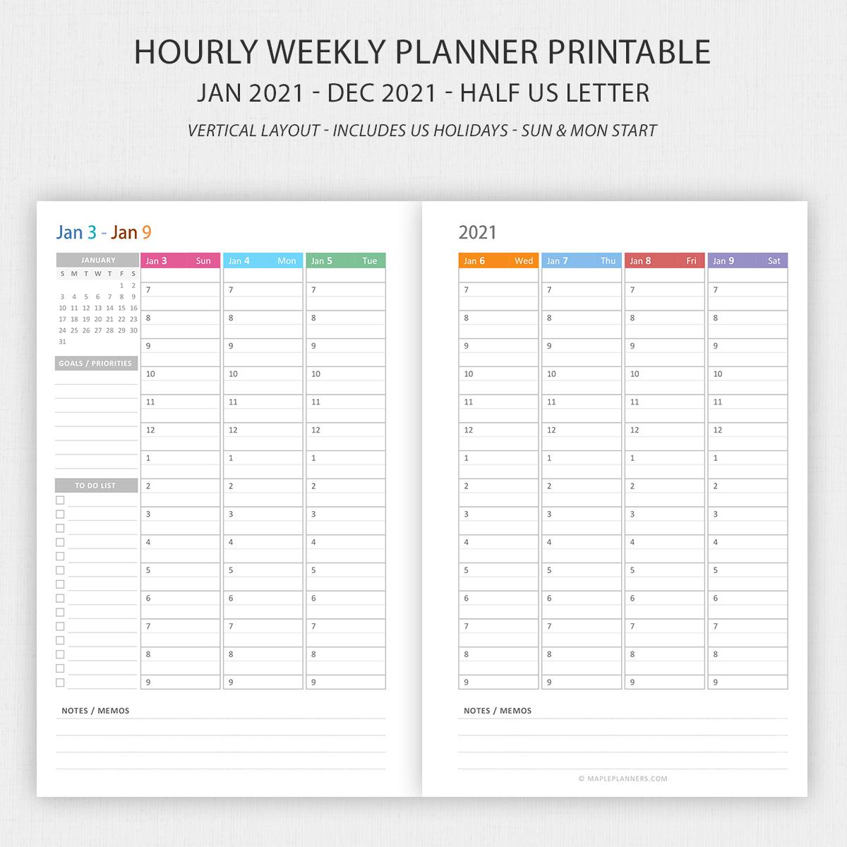 Half Letter Vertical Weekly Planner 2021 Printable
