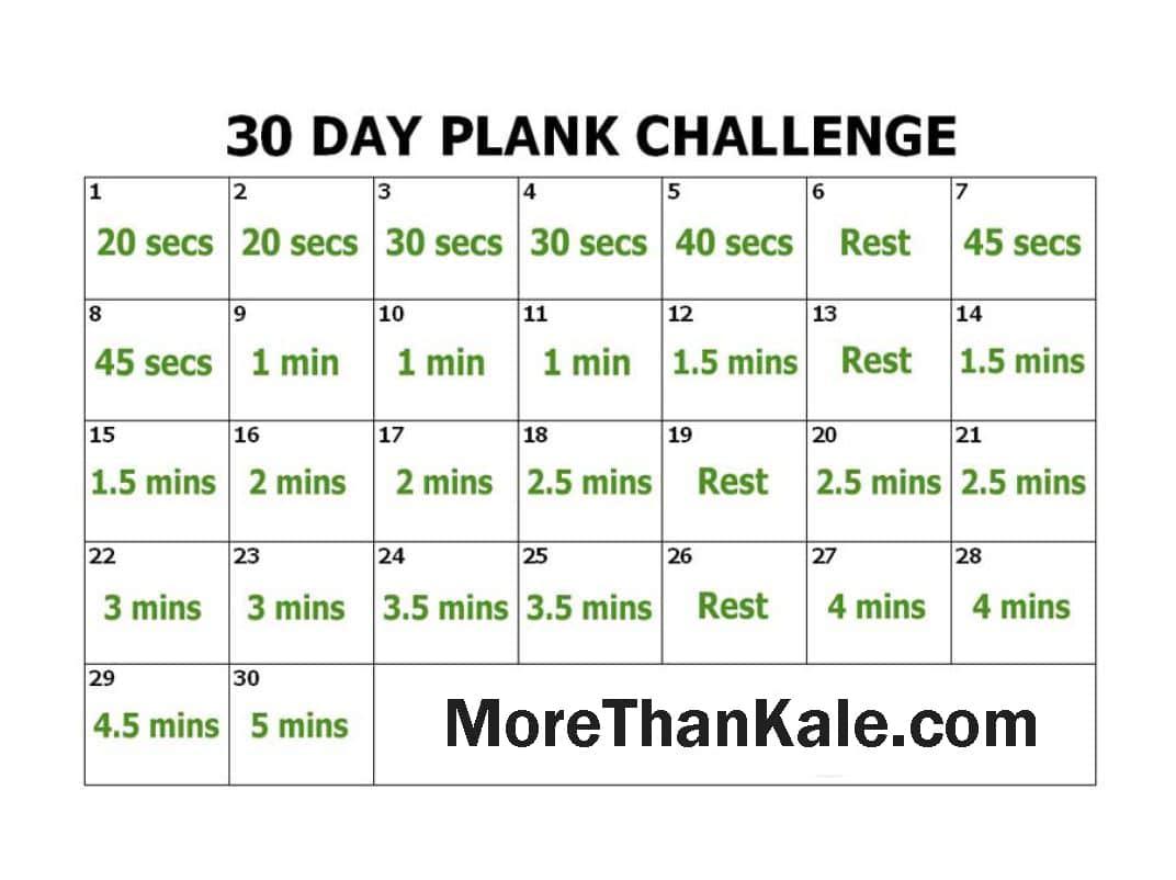 Innovative 30 Day Plank Challenge Printable Pdf Calendar 1