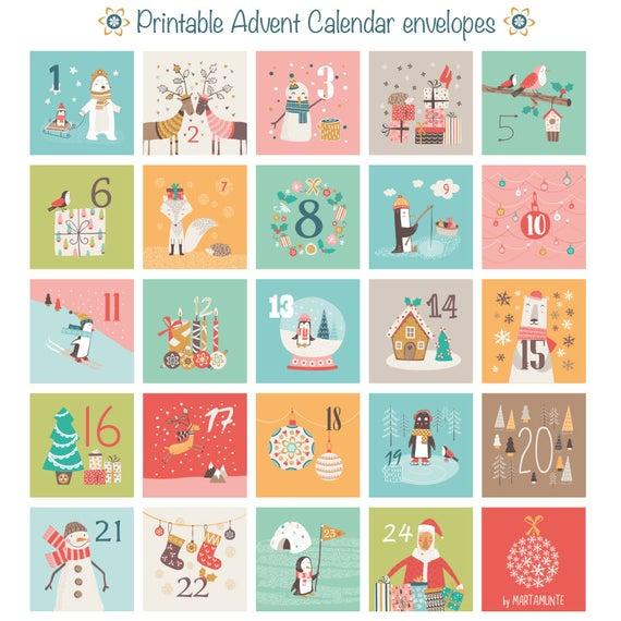 Items Similar To Printable Advent Calendar 24 Mini
