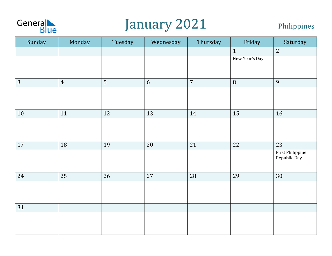 January 2021 Calendar Philippines