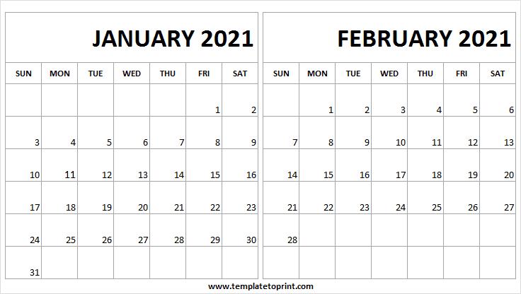 January February 2021 Calendar Word Printable Calendar