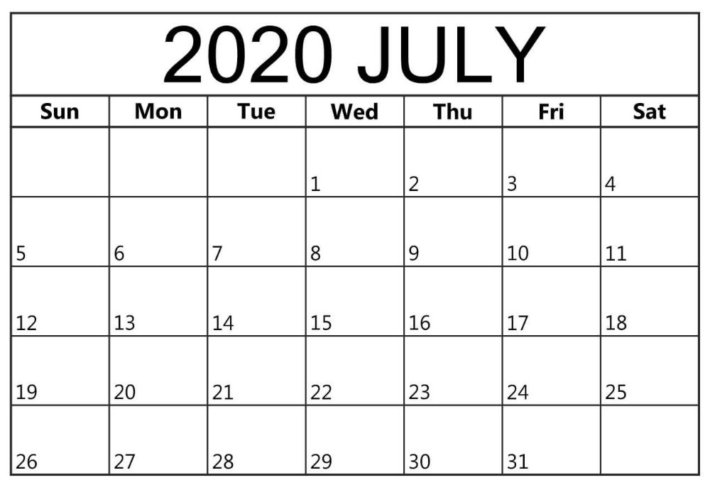 July 2020 Blank Calendar Free Word Page Free Printable