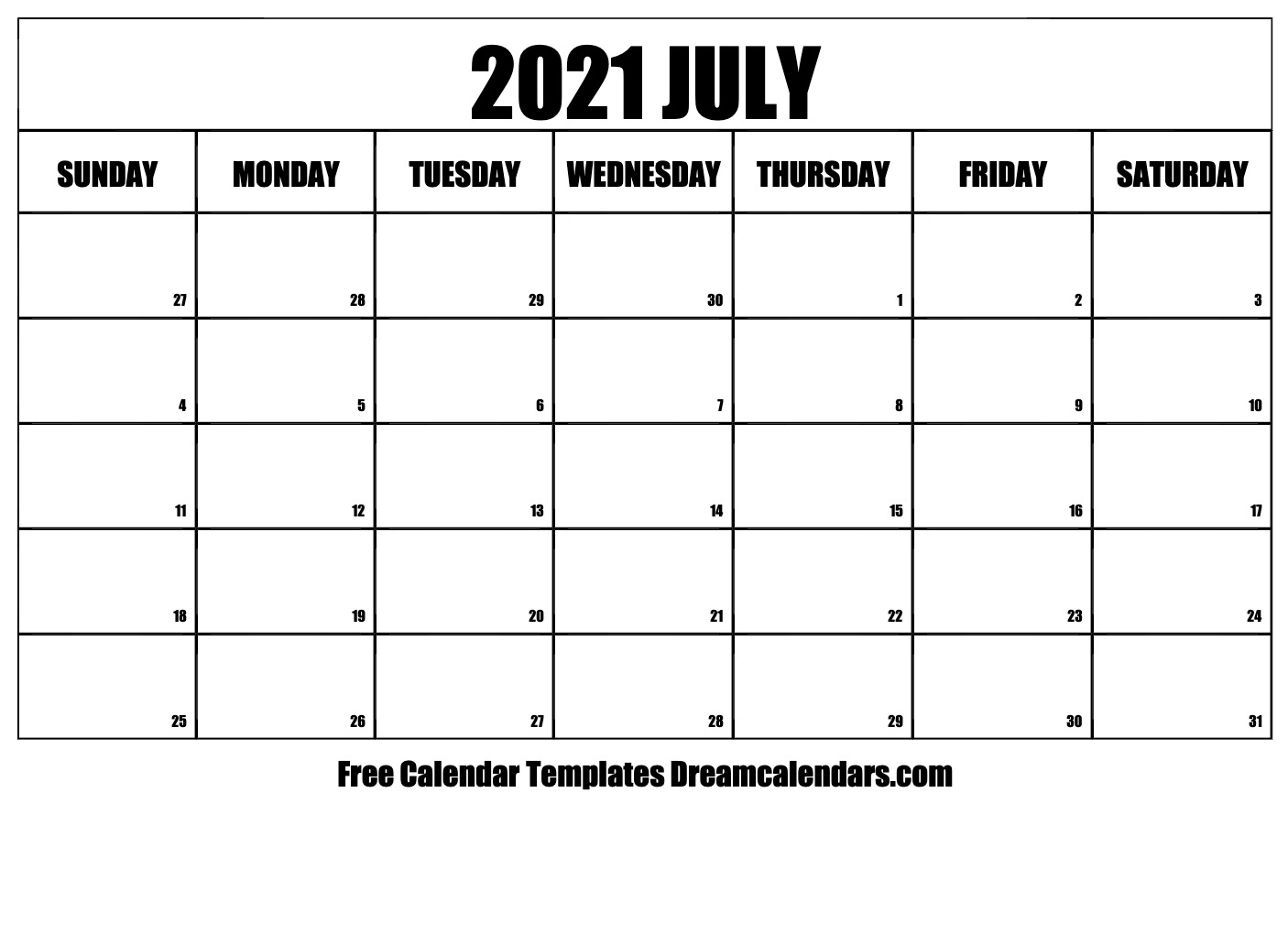 July 2021 Calendar Free Blank Printable Templates 1