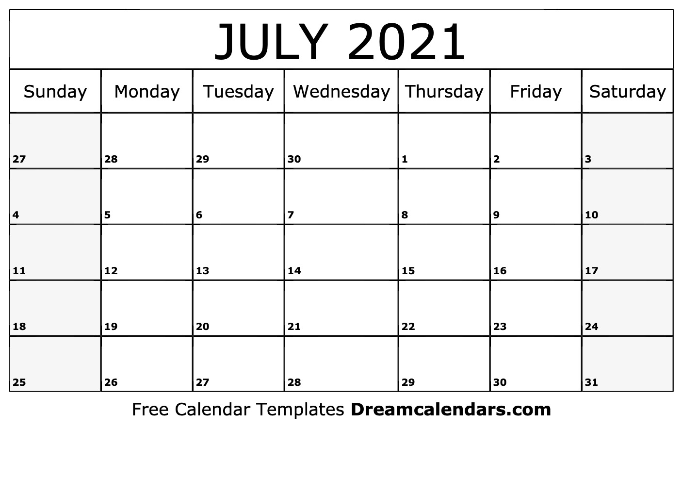 July 2021 Calendar Free Blank Printable Templates