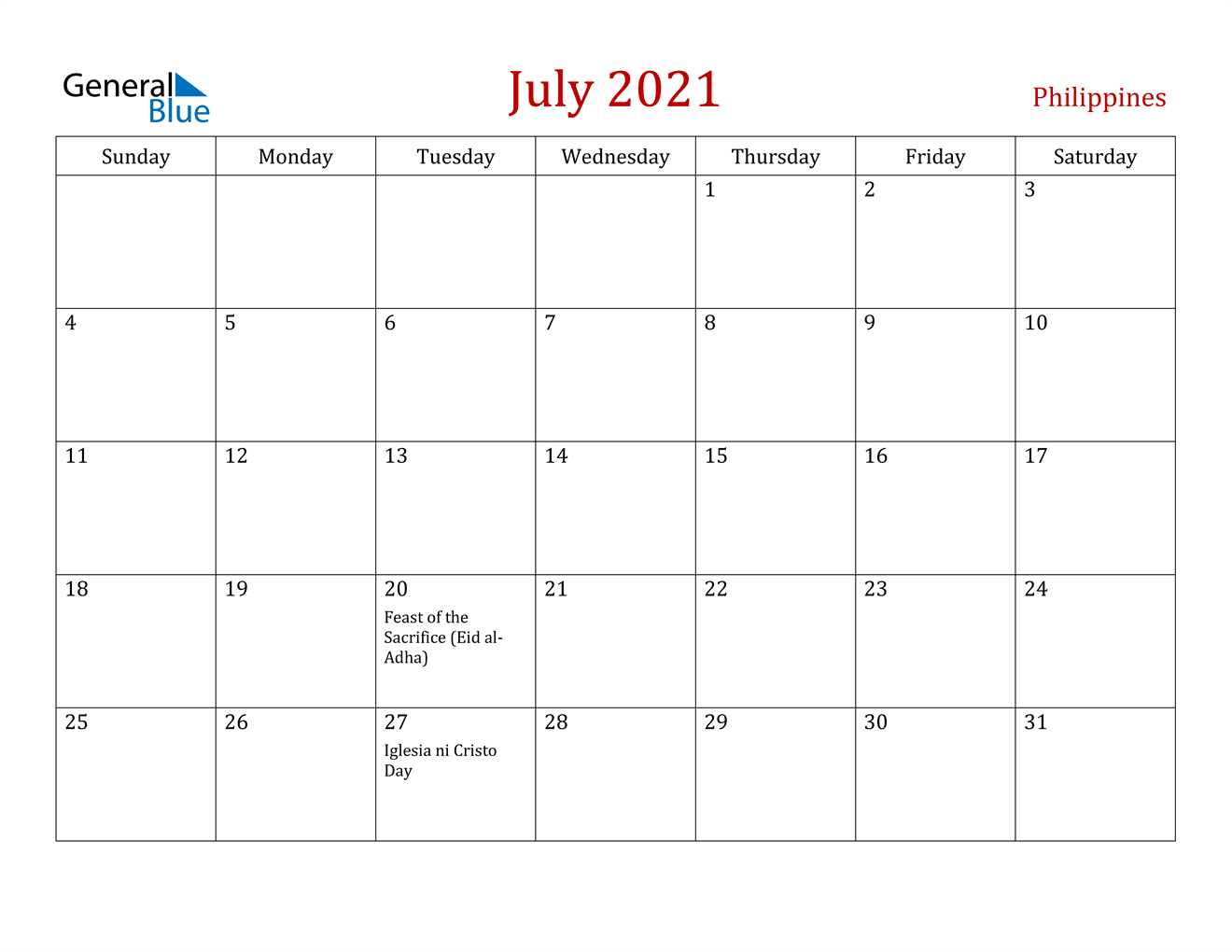 July 2021 Calendar Philippines