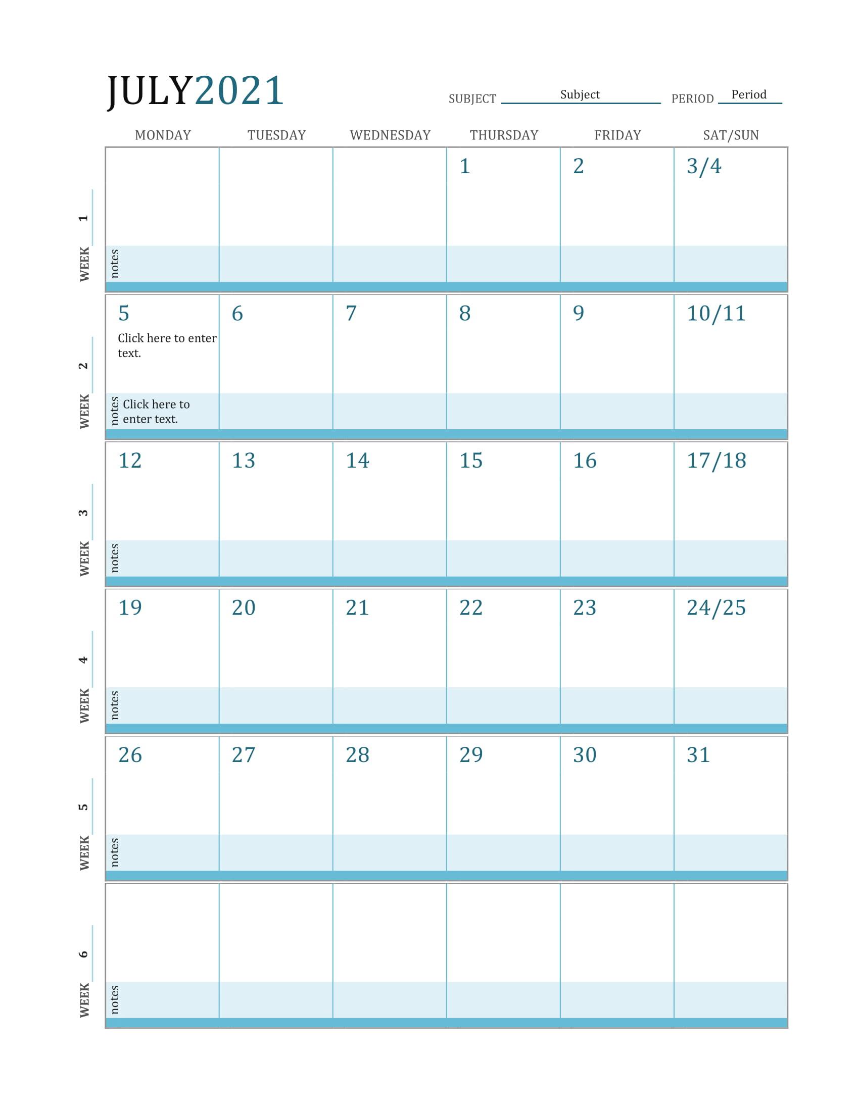 July 2021 Calendar Printable Calendar Template 2020 2021