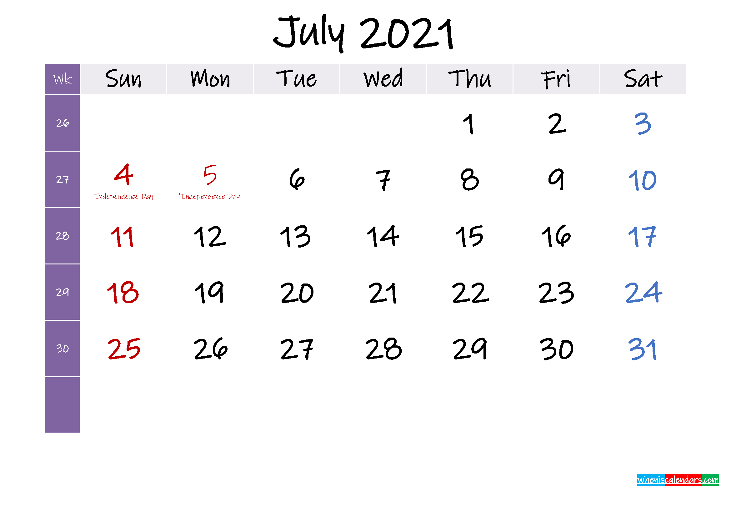 July 2021 Free Printable Calendar With Holidays Template