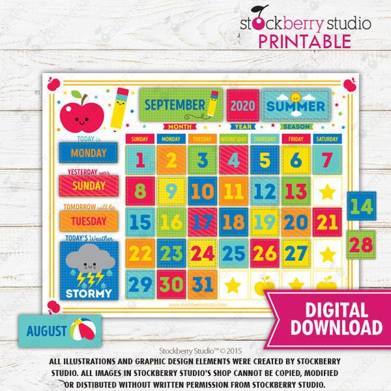 Kids Learning Calendar Weather Chart Circle Time Seasons
