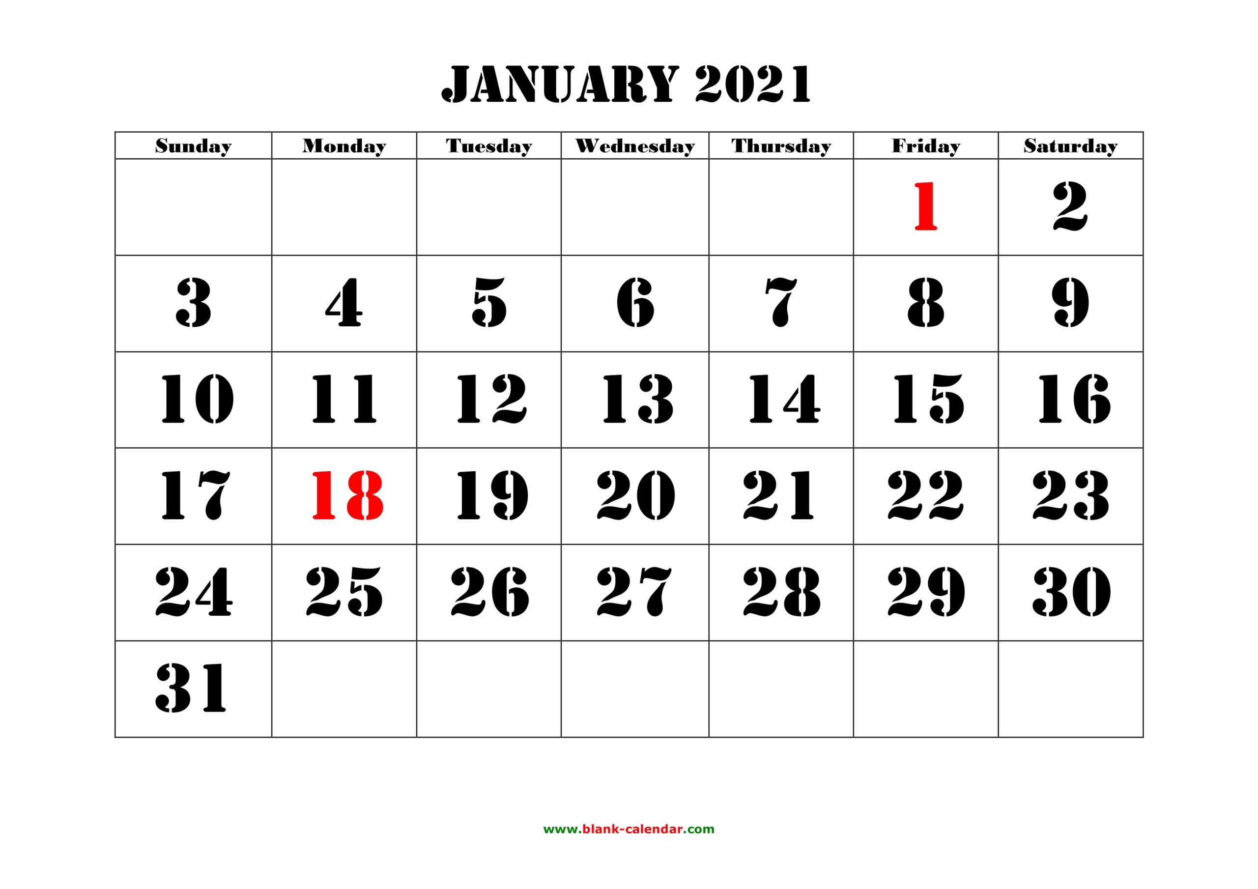 Large Number 2021 Free Calendar Calendar Printables Free