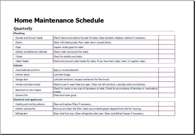 Lawn Maintenance Schedule Template Printable Schedule