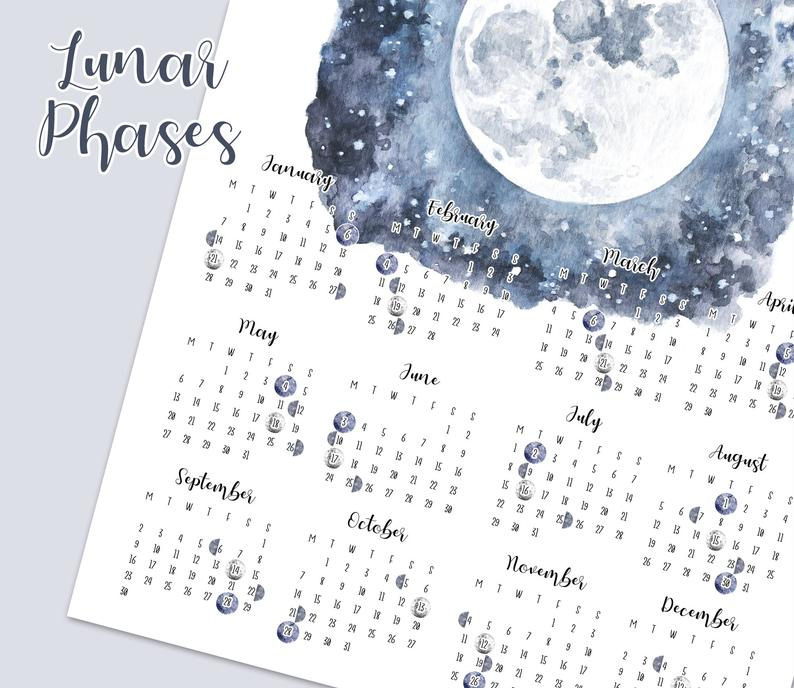 Lunar Calendar 2019 Printable Moon Phases Yearly Overview