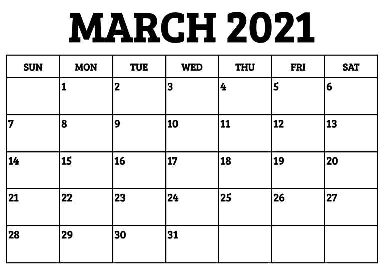 March 2021 Calendar Excel Template Printable One