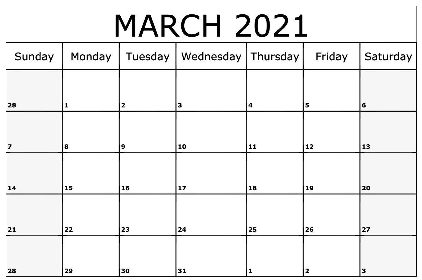 March 2021 Calendar Printable Template July Calendar