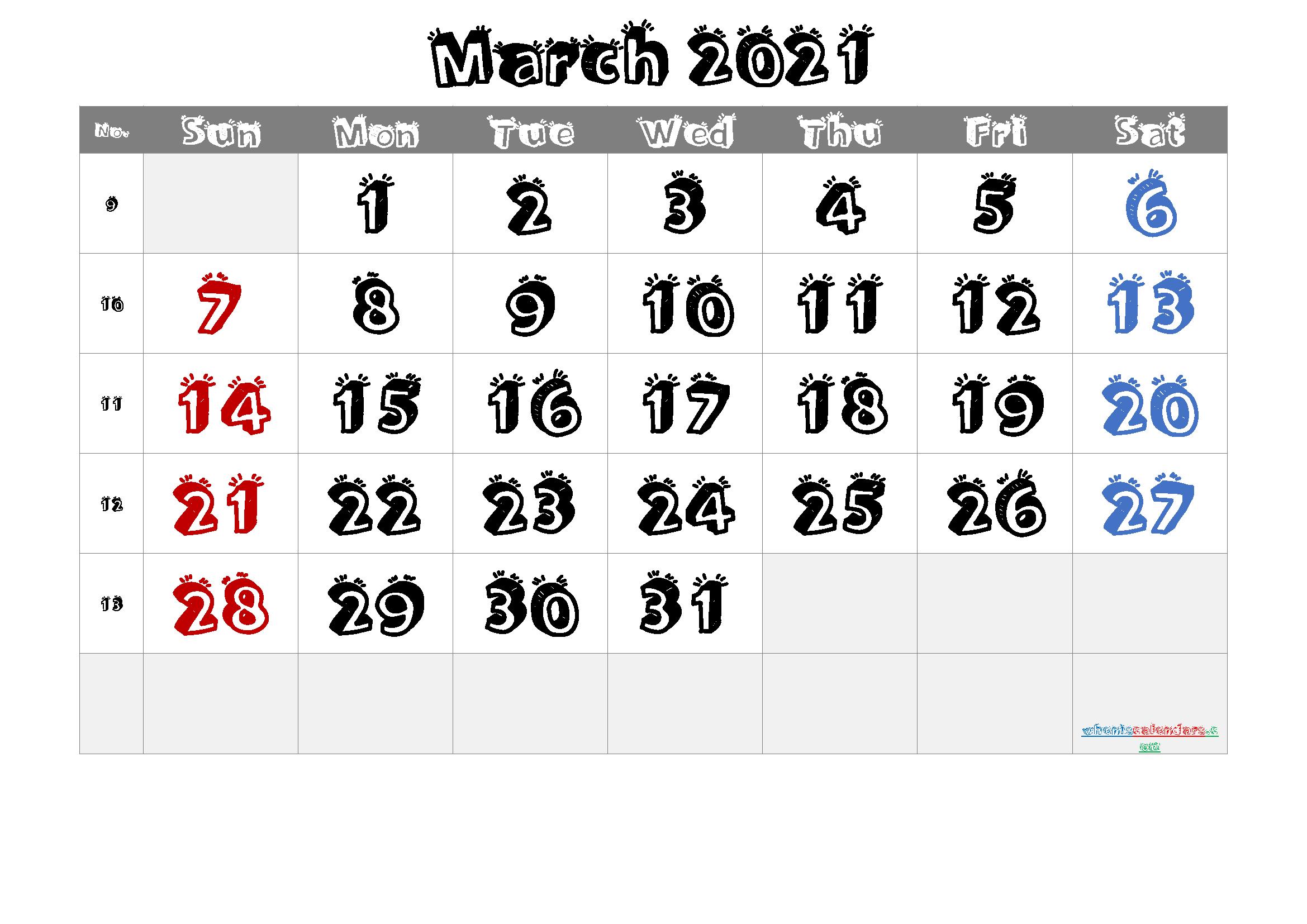 March 2021 Printable Calendar Free Premium Free
