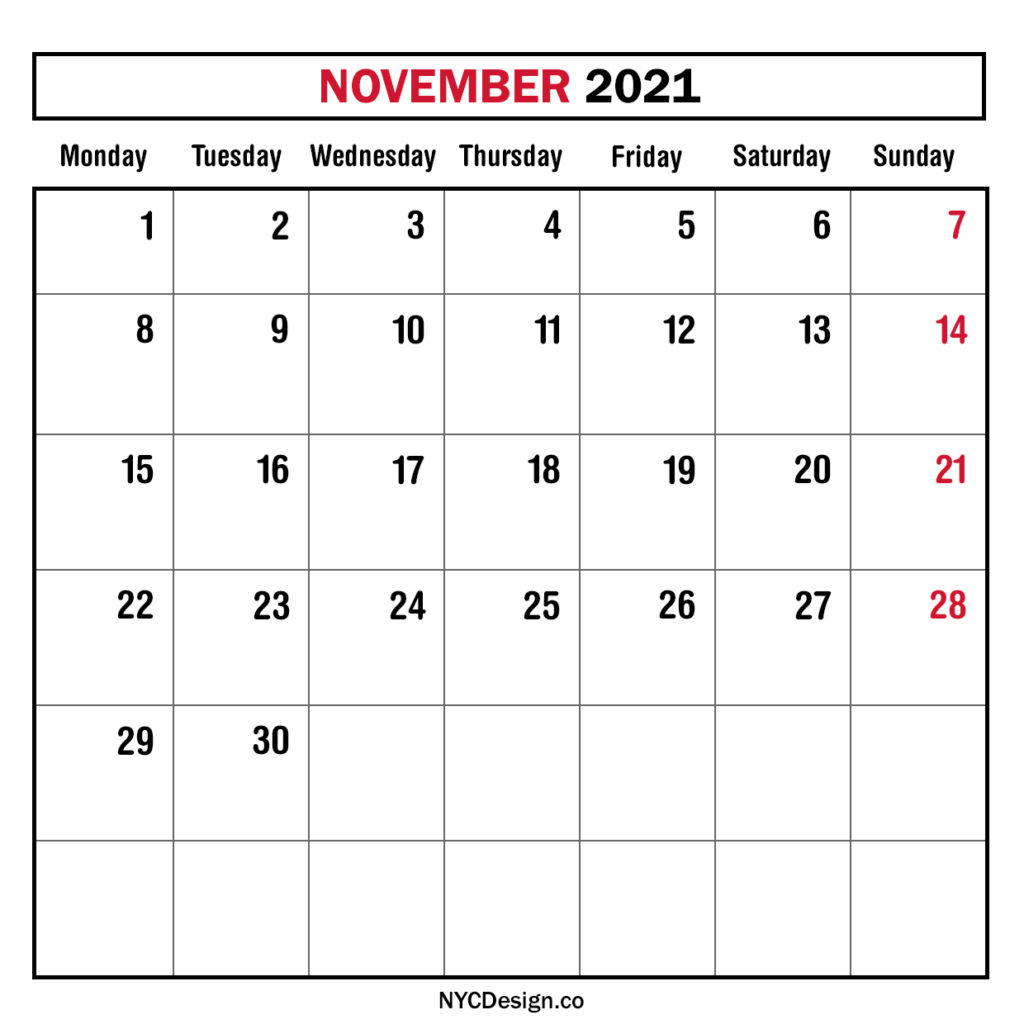 Monthly Calendar November 2021 Monthly Planner Printable