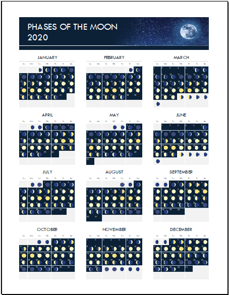 Moon Phase Calendar Template For Excel Excel Templates