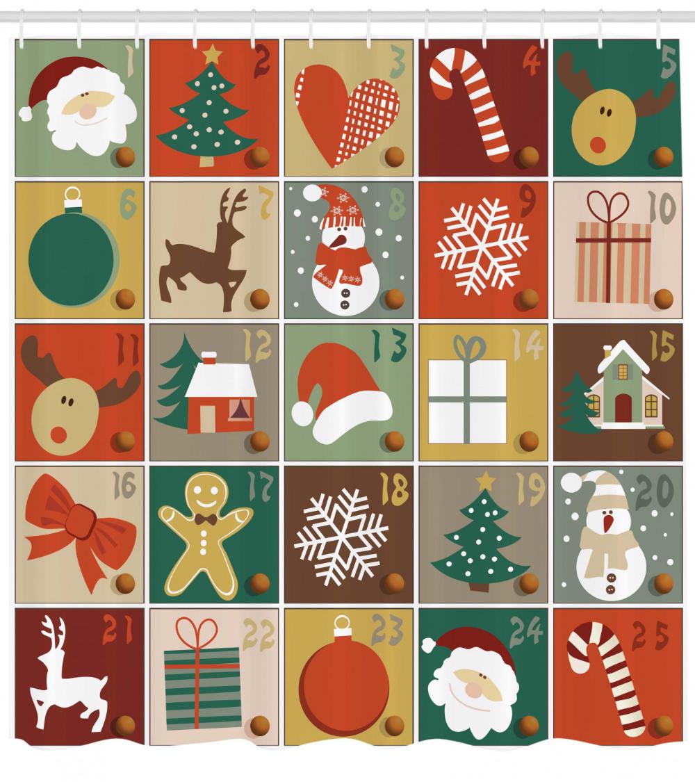 New Year Calendar Santa Christmas Tree Gifts Reindeer Art