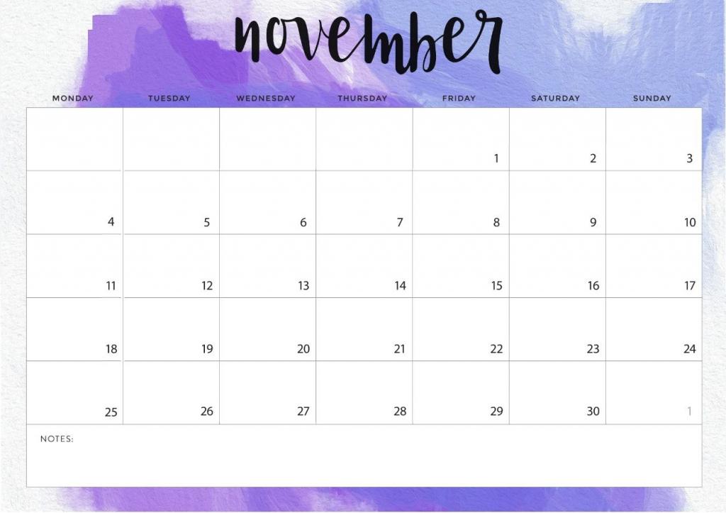 November 2020 8 5 X 11 Calendar Template 2020