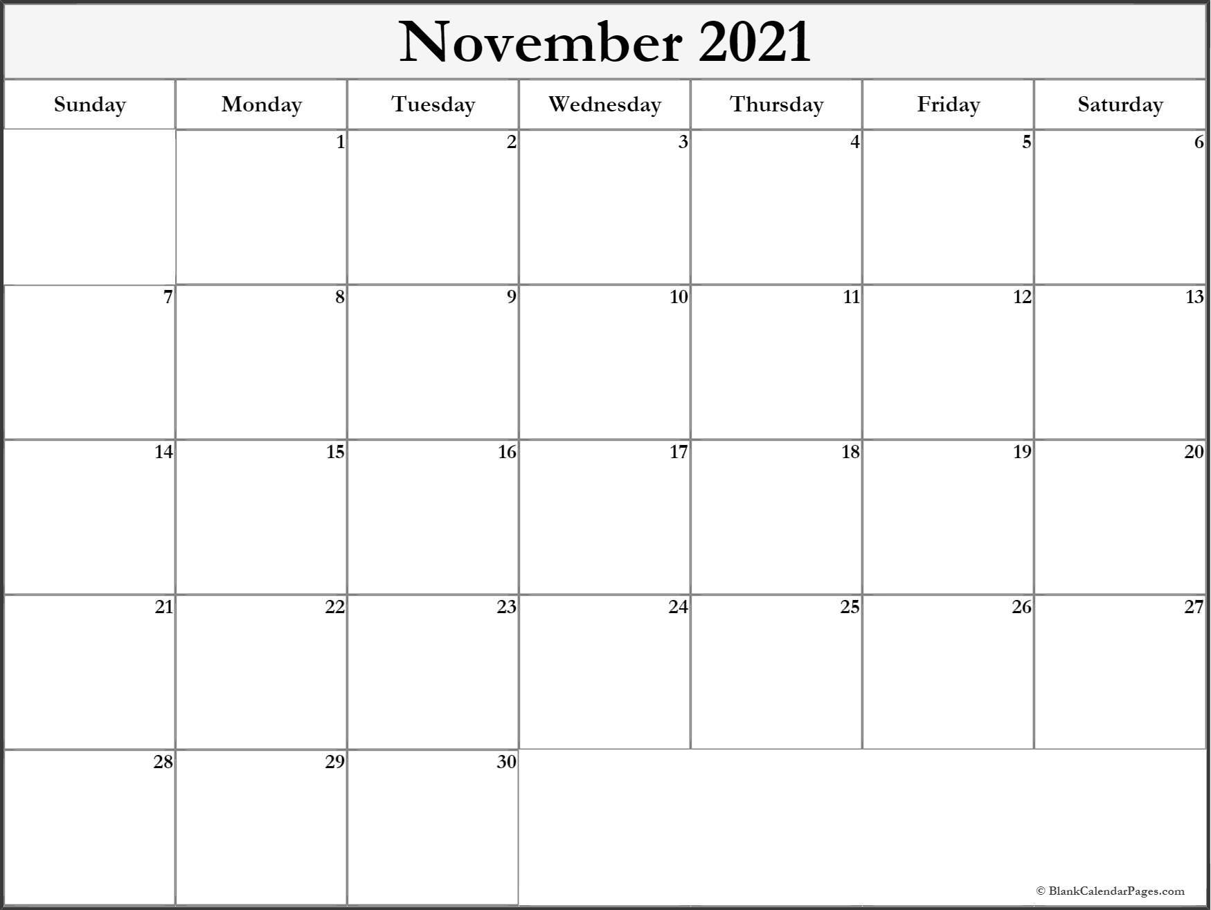 November 2021 Blank Calendar Templates