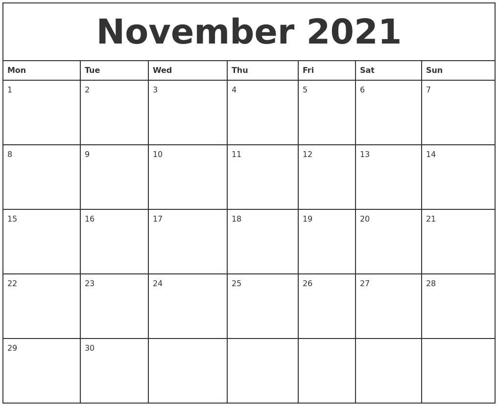 November 2021 Printable Monthly Calendar