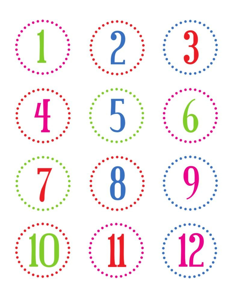 Number Stickers To Use On Holiday Countdown Projectsor