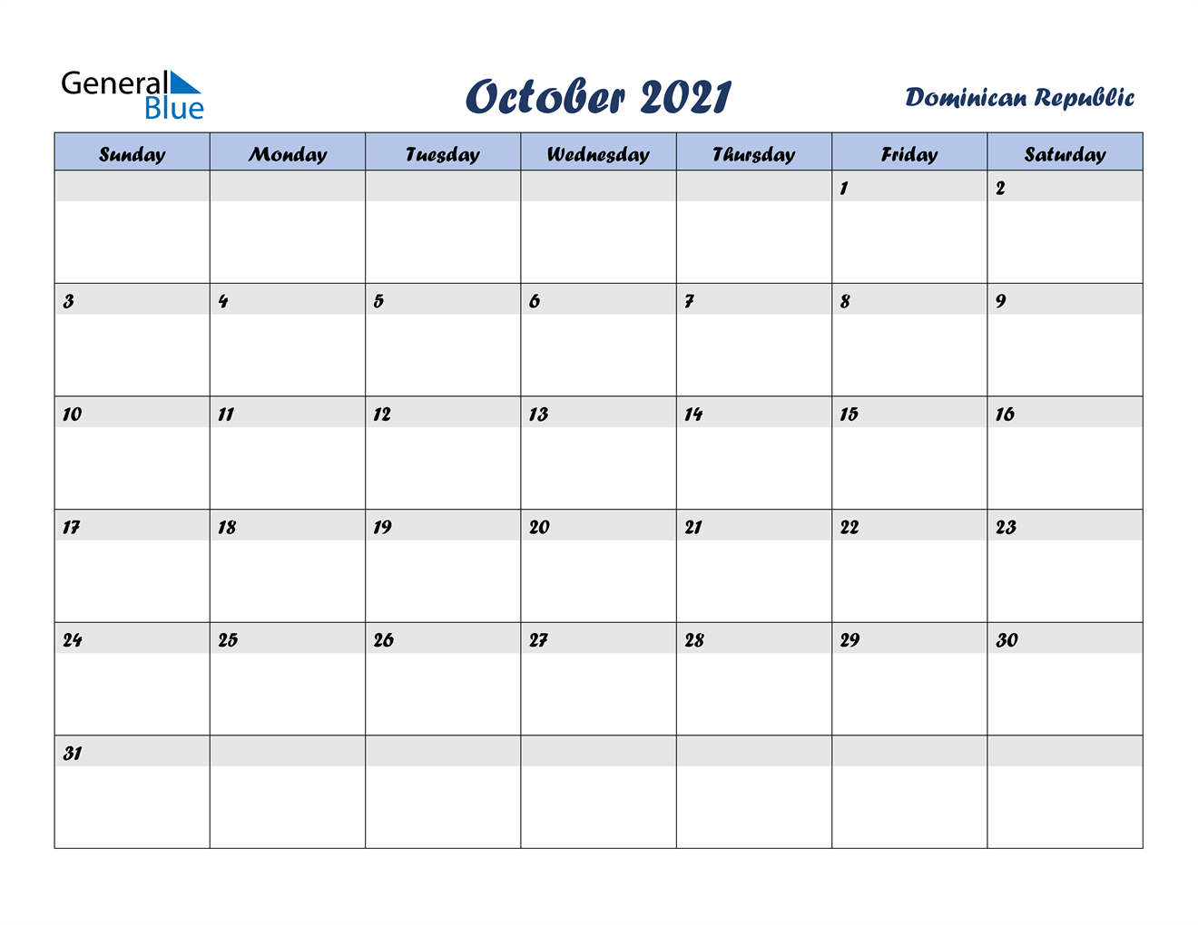 October 2021 Calendar Dominican Republic