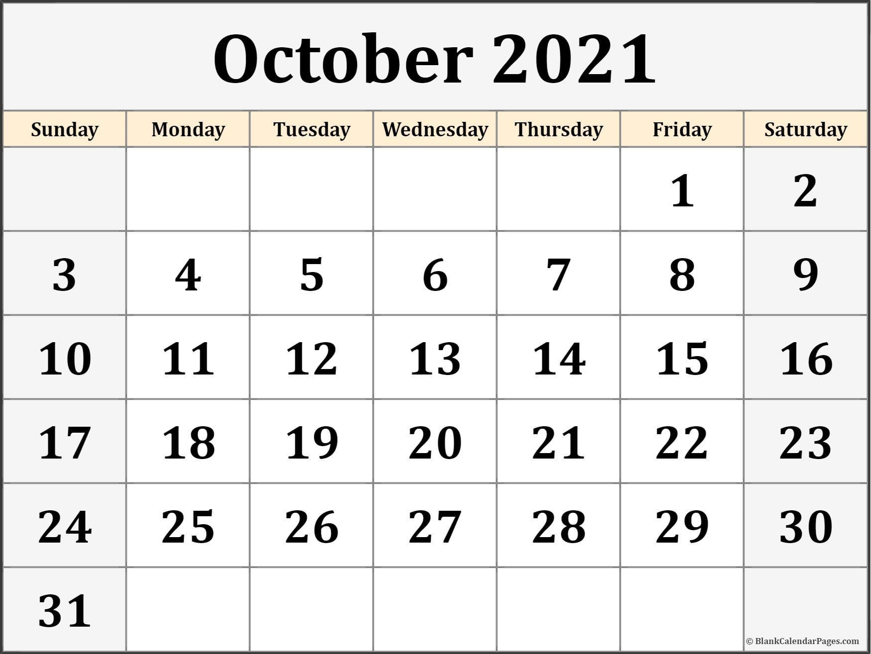 October 2021 Calendar Free Printable Monthly Calendars
