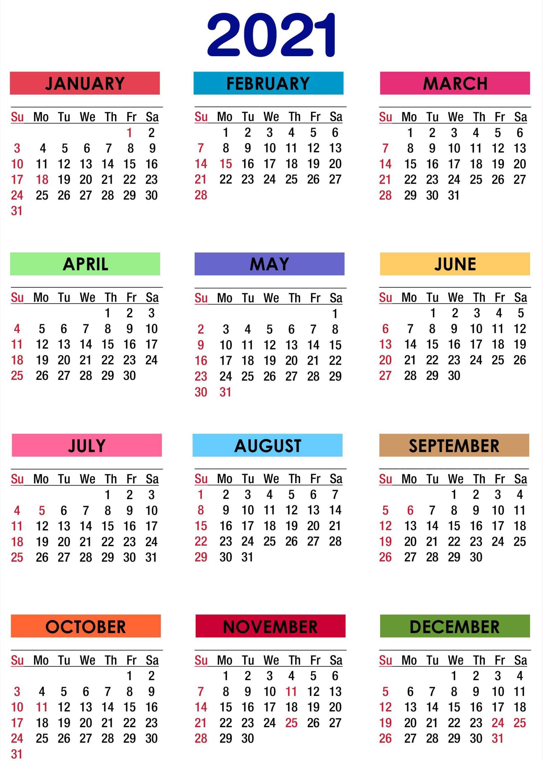 One Page 2021 Calendar Printable Calendar 2021