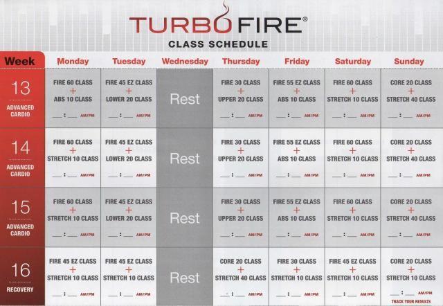 Original Turbo Fire Schedule Google Search Work It