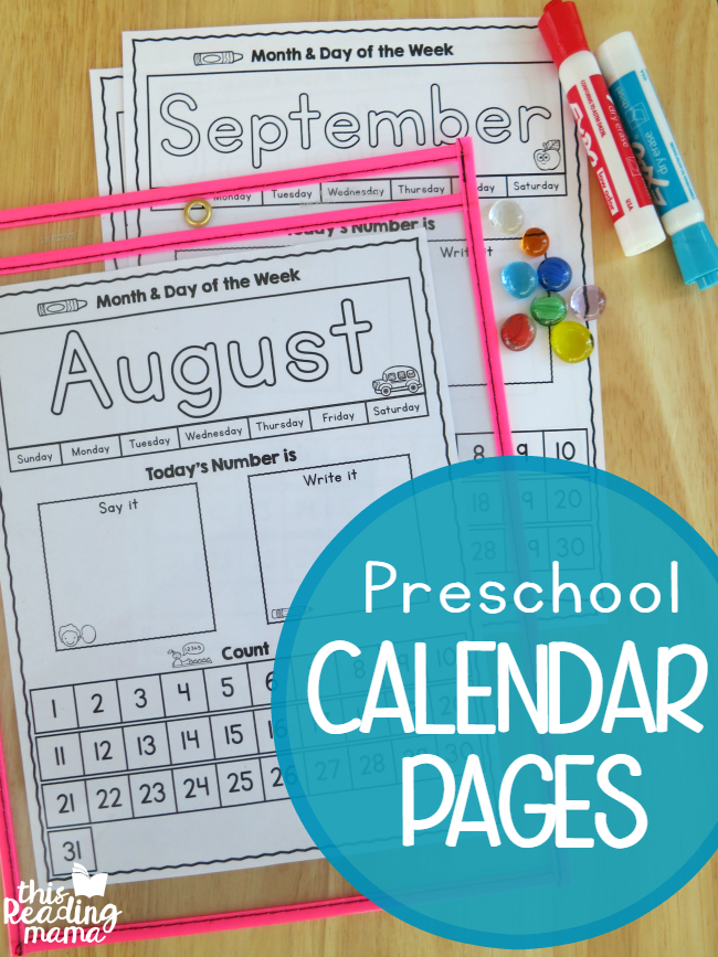 Preschool Calendar Pages Free This Reading Mama