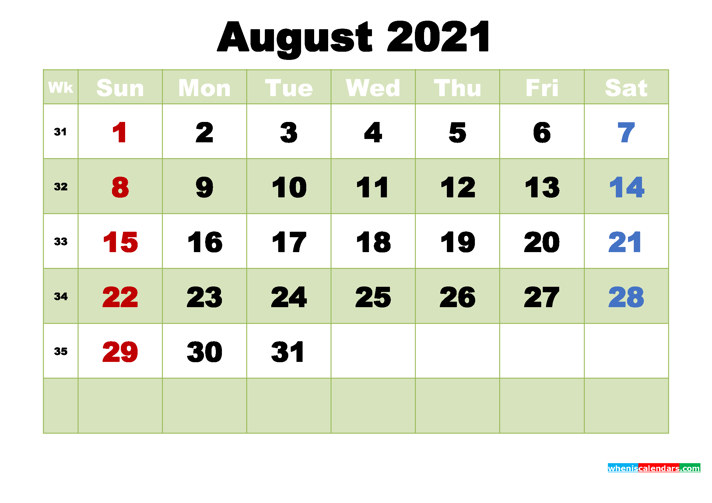 Print Free 2021 Monthly Calendar Without Downloading