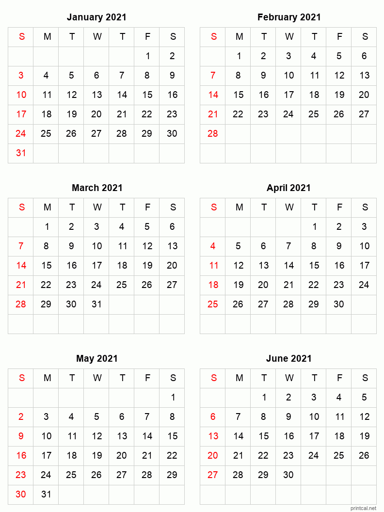Printable 2021 Calendar Six Months Per Page Free