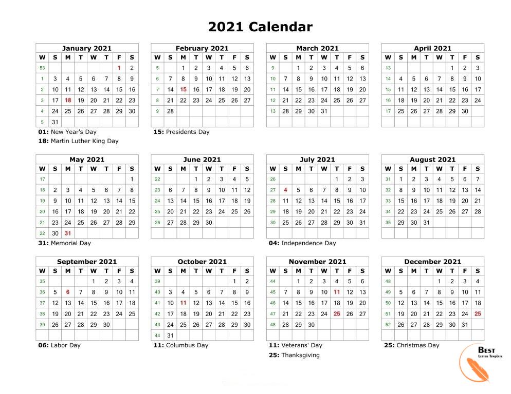 Printable 2021 Calendar Template In Pdf Word Excel