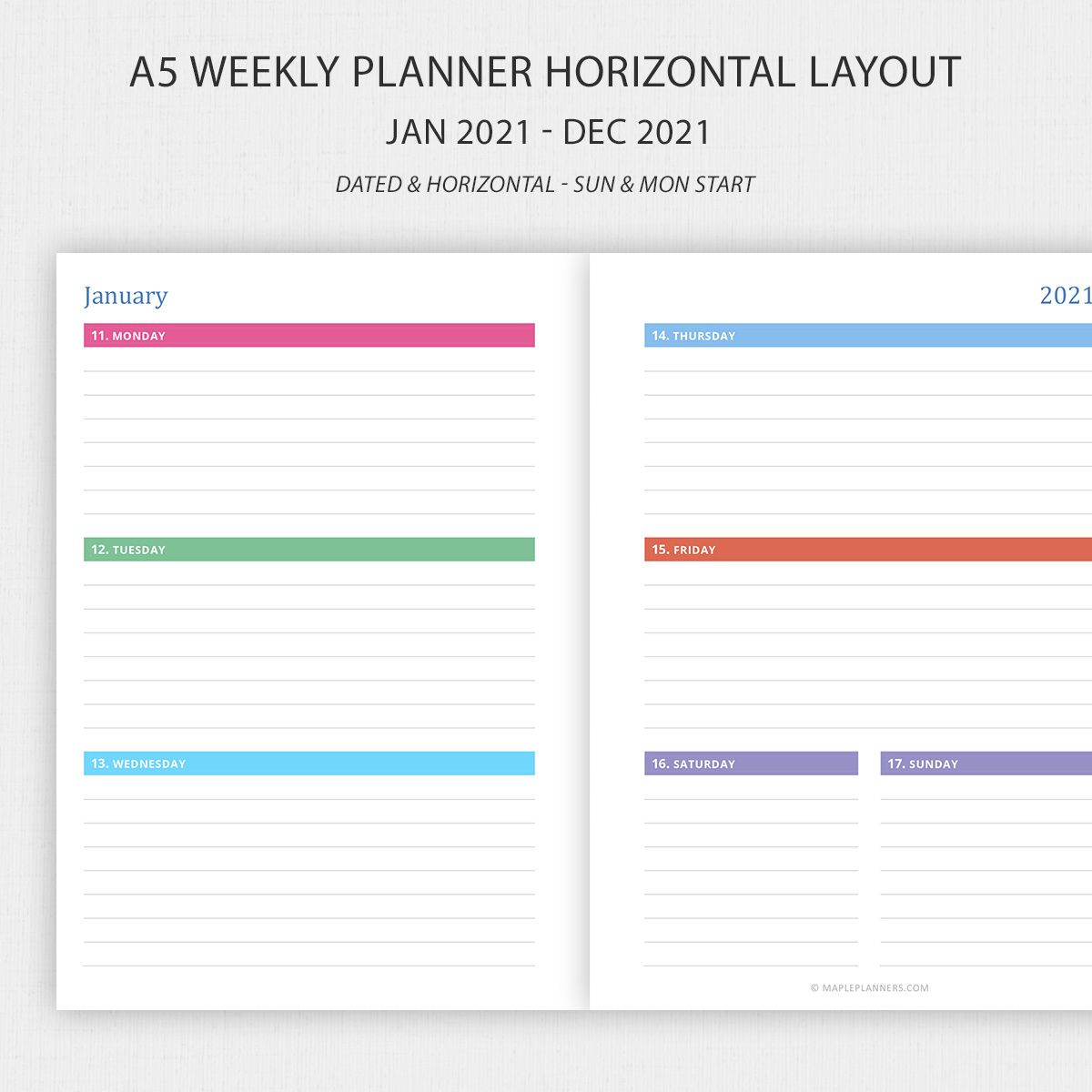 Printable A5 Weekly Planner 2021 Horizontal Layout