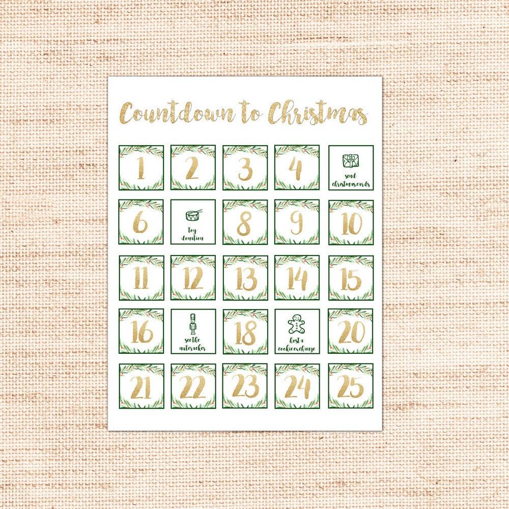 Printable Advent Calendar Countdown To Christmas