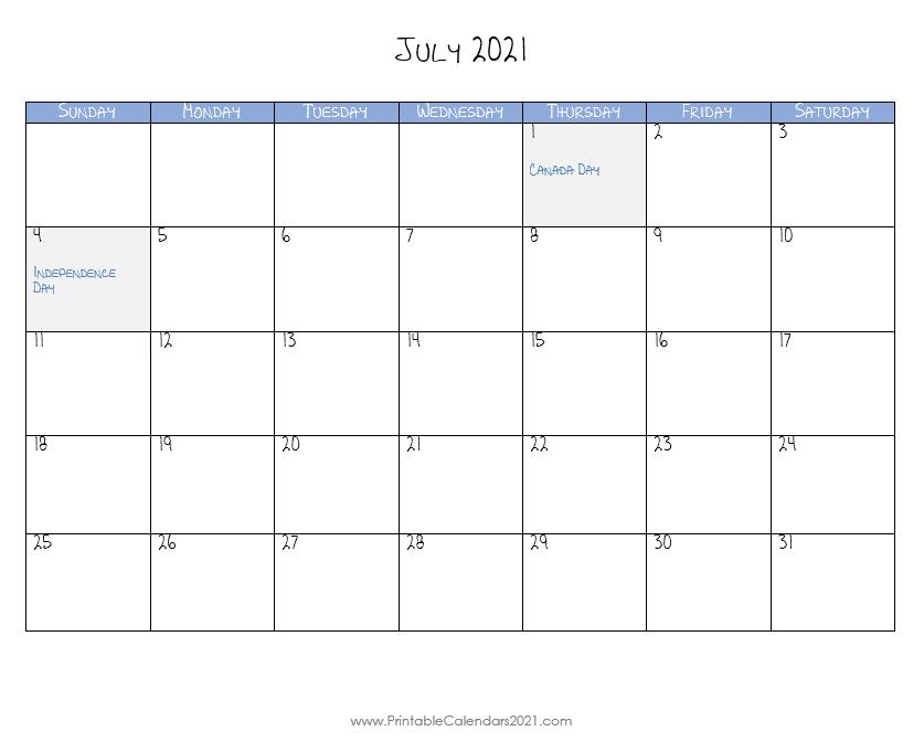 Printable Calendar July 2021 Printable 2021 Calendar With