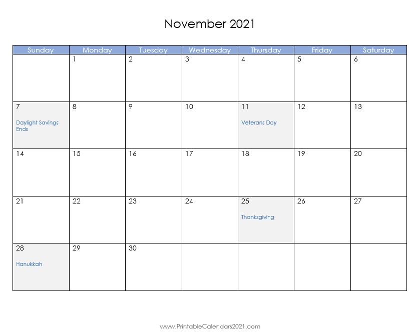 Printable Calendar November 2021 Printable 2021 Calendar