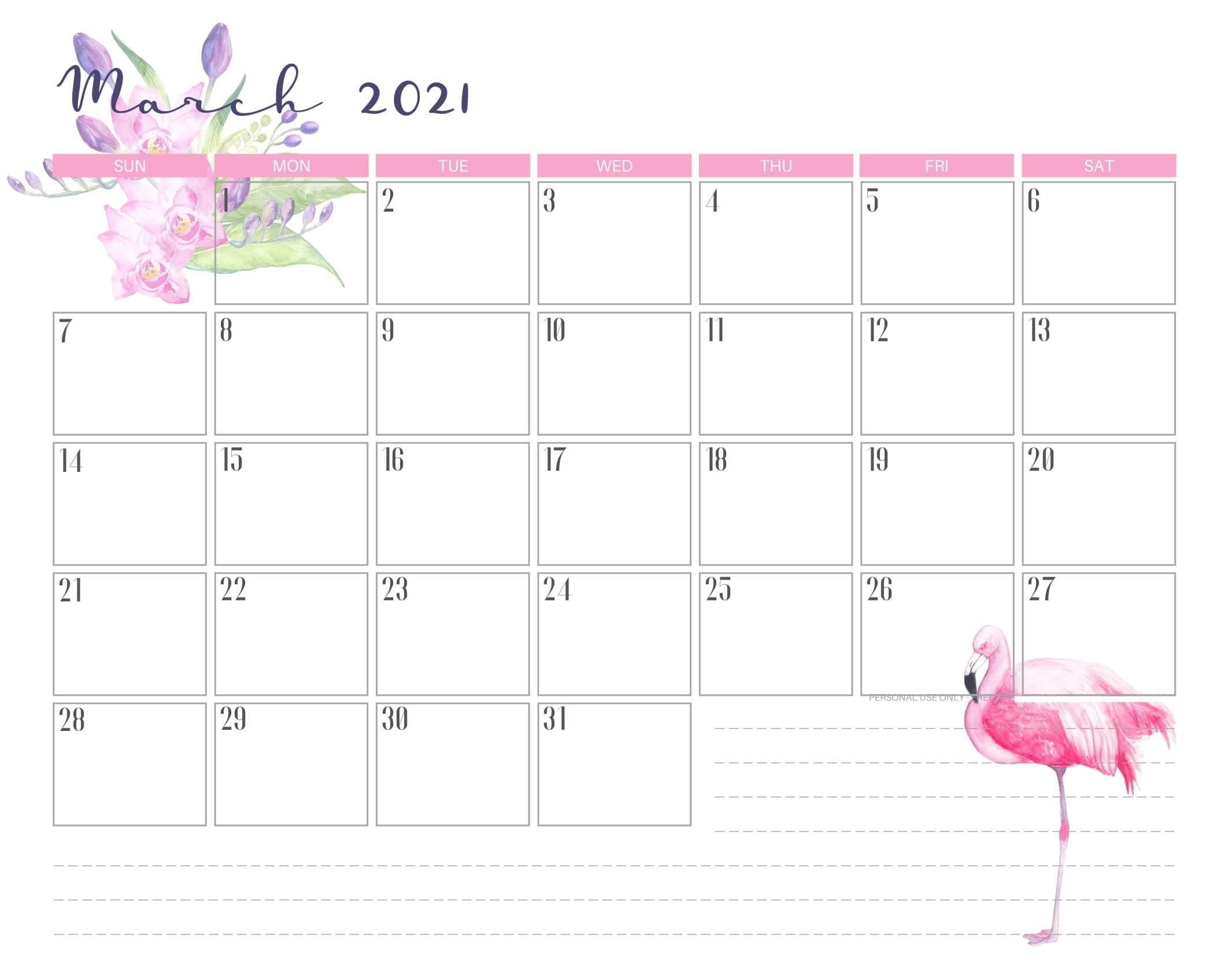 Printable Cute March 2021 Calendar Template Images Set 4